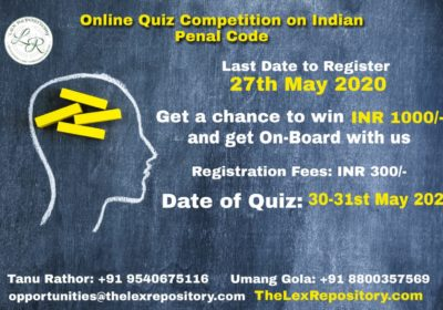 II ONLINE QUIZ COMPETITION ON INDIAN PENAL CODE