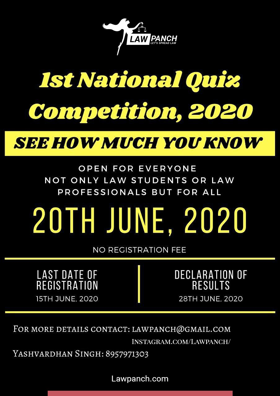 1st National Quiz Competition, 2020 (20th June) organised by LawPanch