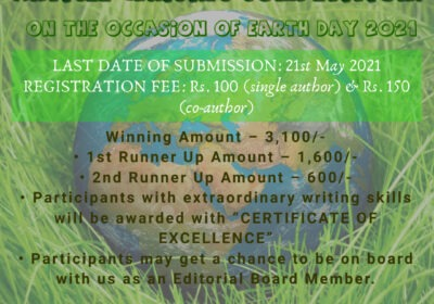 ONLINE ARTICLE WRITING COMPETITION ON THE OCCASION OF EARTH DAY 2021